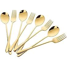 Buyer Star 8 piezas Dorado Acero inoxidable Cucharas Set de tenedores de postre Cuchara para postres