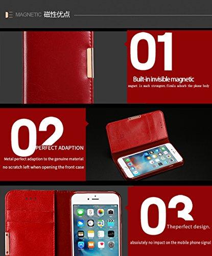 COVO   iPhone 7 Plus Funda Funda Piel genuina Billetera Funda para iPhone 7 Plus con Stand Funci  n Naranja
