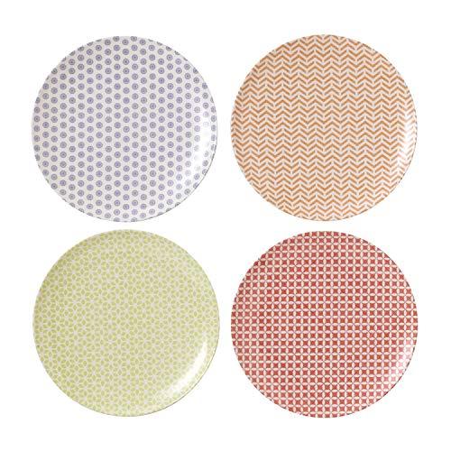 Royal Doulton Lot de 4 Assiette à Salade 20.5 cm Pastels, Mélamine, Multicolore, 20.5 x 20.5 x 2 cm