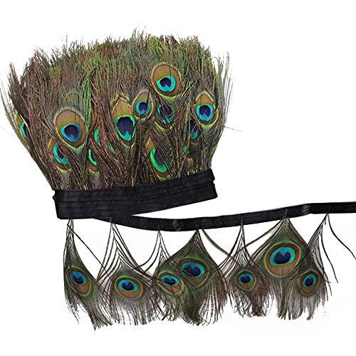 Etsamor 2m piume di pavone occhi naturali 15-20cm coda di piume per fare cappelli orecchini vestito artigianale decorazione carnevale costume festa mascherata halloween accessorio