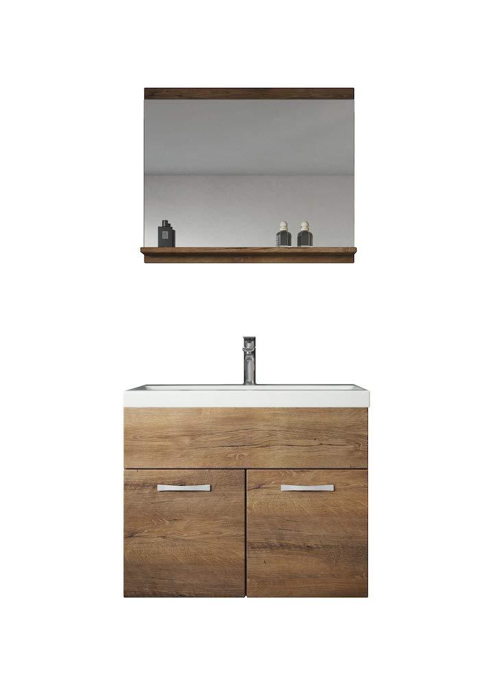 Badezimmer Badmöbel Montreal 02 Lefkas 60cm Waschbecken - Unterschrank  Waschtisch Spiegel Möbel - Möbelbilliger.de