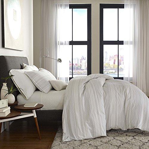 FlatIron Seersucker Bettbezug für Kingsize-Betten, Weiß/Grau/Taupe Bettbezug Queen White/Grey/Taupe - Kingsize-bettbezug-bett