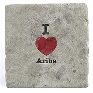 I Love Ariba - Set of Four Marble Tile Drink Coasters