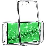 La caja del cromo para Huawei Ascend G7 | Funda de silicona transparente con efecto metálico | Protección de celda fina bolsa de OneFlow | Backcover en Platin-Silver