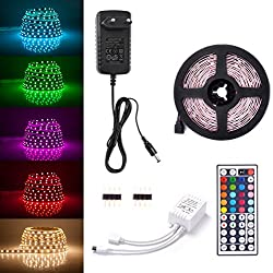 Sunix Tira LED RGB 2Metro, 60 LEDS 5050 SMD Tiras de LED Kit Completo con 44 Tecla IR Remoto y Adaptador Ideal para Decoración del Partido Fiesta
