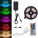 Sunix® Kit de Ruban LED RGB 2M 5050 SMD 60 LEDS, Adapteur Flexible Strip Light, télécommande à infrarouge 44 touches, Alimentation 2A 12V
