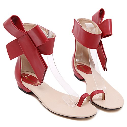 Oasap Women's Ankle Bow Flat Thong Sandals apricot