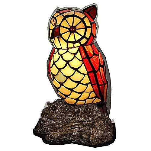 Tischlampe im Tiffany-Stil Tischlampe Design Eule aus farbigem Glas Nachttischlampe Nachttischlampe kleine Nachttischlampe Nachttischlampe Deko für Zuhause GiftE12 × 1 -