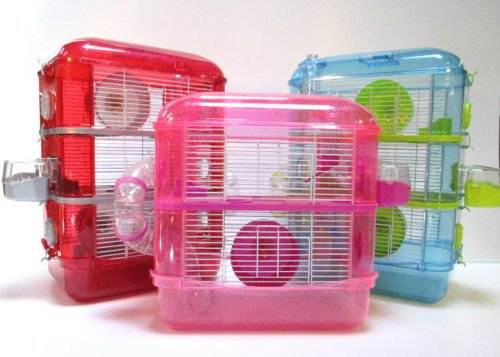 Fantazia Large Hamster Cage With Sparkly Glitter In Plastic (2 Storey, Pink & Purple) 1