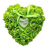 Zentto Hochzeits-Ring mit Herz rosa mit Accessoires Romantischer Ring Ring, Box-Kissen, mit Flora Satin (1Stück), 24x 24cm, Band, grün, 24 x 22 cm