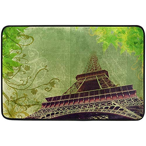 Klotr Fußabtreter, 23.6x15.7 inch Non-Slip Polyester Doormat Eiffel Tower France Paris with Green Leaves Washable Entrance Rug for Inside Floor Living Room Toilet Patio Garage -