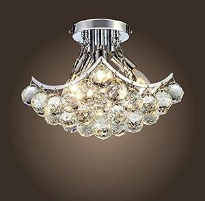 Saint Mossi Modern K9 Crystal Raindrop Chandelier Lighting Flush mount LED Ceiling Light Fixture Pendant Lamp for Dining Room Bathroom Bedroom Livingroom Height 22.9 cm x Width 22.9 cm by Saint Home