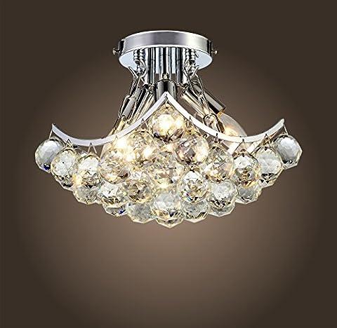 Saint Mossi Modern Crystal Raindrop Chandelier Lighting Flush mount LED Ceiling Light Fixture Pendant Lamp for Dining Room Bathroom Bedroom Livingroom Height 22.9 cm x Width 22.9 cm