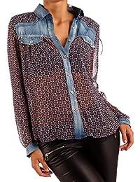 Damen Bluse Jeanshemd Druckbluse Transparent longsleeve Blouson