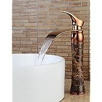 YFF@Contemporaneo Installazione centrale Cascata with Valvola in ceramica Una manopola Un foro for Oro rosa , Lavandino rubinetto del bagno