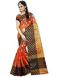 Tagline Women's Cotton Silk Saree With Blouse Piece (Tag12021, Orange, Free Size)