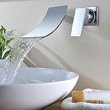 KINSE® Pared Mezclador Elegante Montaje Aparato de Grifo de la Cascada de Pared Lavabo Vanidad