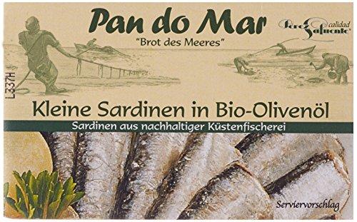 Preisvergleich Produktbild Pan do Mar Kleine Sardinen in Bio Olivenöl,  5er Pack (5 x 120 g)