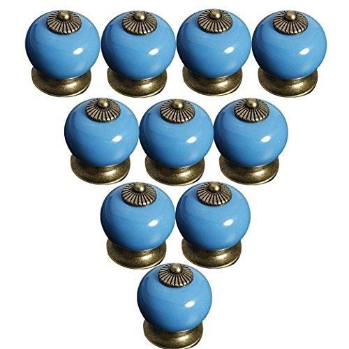 FBSHOP(TM) Blau 10PCS Neu Europa Stil Keramik Türknauf Moderne Minimalist Griff Schrank Nachttisch Schublade Bücherregal Schuhschrank Küchenschublade Pull Griffe handbemalt Tür Decor (Blau Bücherregal)