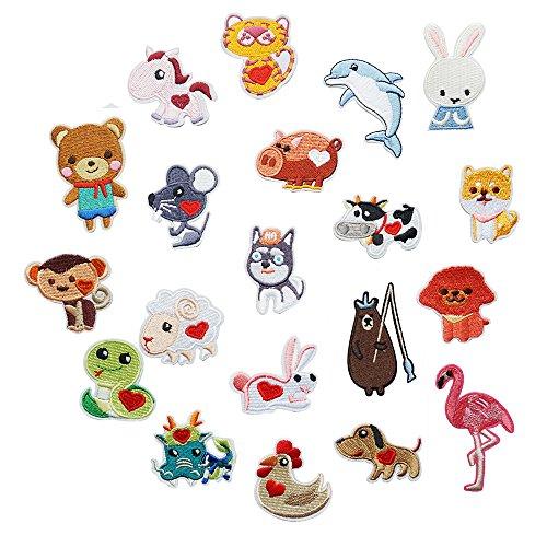 20 parches animales bordados perro/llamas/conejos