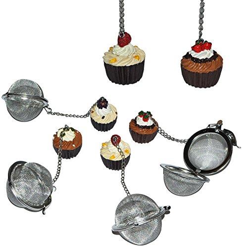 2 Stück _ 3-D Tee-Ei / Teebeutel Teekugel für Tee und Gewürze - mit Törtchen Anhänger aus Kunstharz - Buffet - Teeei Teebeutel Teekugel Gewürzsieb - Sieb Teesieb lustig groß Teezange