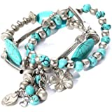 Yazilind Jewellery Gift Turquoise Tibetan Sliver Overlapping Stretch Bracelet for Women