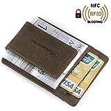 Teemzone RFID Blocage Pinces à billets Porte-Monnaie Homme Cuir véritable Portefeuille Pour poches pantalon ou veste Porte-cartes de crédit aimant (marron foncé)