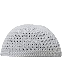 401172b1d6d TheKufi White Open-Weave Nylon Stretchy Kufi Hat Skull Cap Beanie