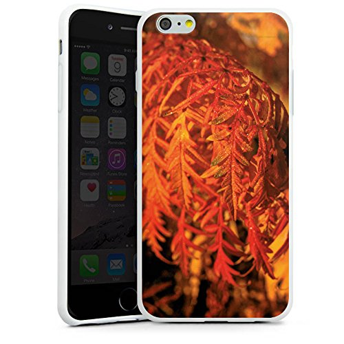 Apple iPhone X Silikon Hülle Case Schutzhülle Blätter Orange Herbst Silikon Case weiß