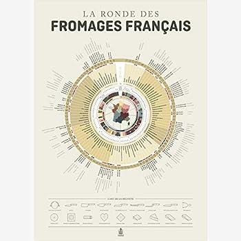 """Carte """" la ronde des fromages Français"""" les accords vins, fromages 50 x 70 cm"""