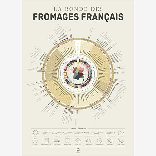 """Carte """" la ronde des fromages Français"""" les accords vins, fromages 50 x 70 cm par La Majorette à Moustache"""