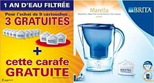 Brita 1006118 Lot 1 An: Pack 9 Cartouches Maxtra + 3 Cartouches + 1 Carafe Marella Bleu