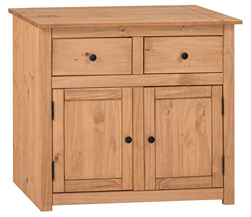 Mercers Furniture Panama 2 Tür, 2 Schubladen Sideboard, Holz, Antique Wax, 93 x 41 x 80 cm