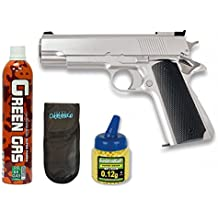 Pack Pistola airsoft HFC G16 plata. Funcionamiento por gas. Calibre 6mm. + Gas + 1000 bolas + Funda Portabolas. 18398/21993/23054