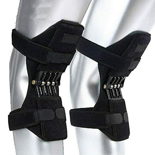 HPDOSH 1 Paar Knie Booster, verstellbare Knie Patella Gurt Unterstützung, Tiefenpflege Gelenk Stützfeder Knieschützer Klammer Rebound Booster für Bergsteigen/Kniebeugen/Laufen/Gehen -
