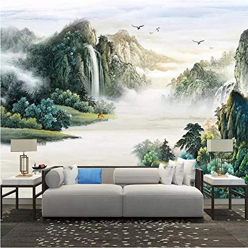 Jukunlun Benutzerdefinierte Tapete Moderne Abstrakte Chinesischen Stil Tinte Bergwasser Ölgemälde Wohnzimmer Tv Hintergrund Wandbild Tapete-140X100Cm -