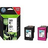 HP 301 - Pack de ahorro de 2 cartuchos de tinta Original HP 301 Negro, Tricolor para HP DeskJet, HP OfficeJet y HP ENVY