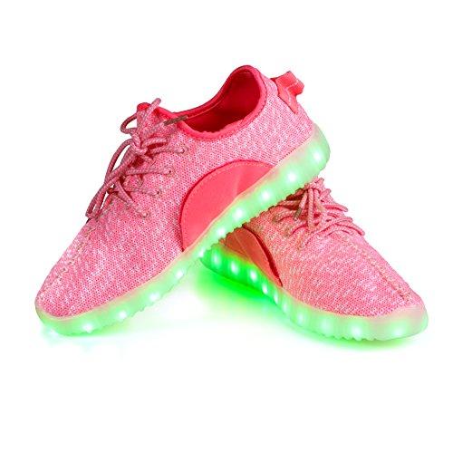 (LEADFAS LED Schuhe, 7 Farben Leuchten Sneaker Männer Frauen Sport Draussen Sportlich USB Aufladungs Trainer für Weihnachten Halloween Geschenk Jungen Mädchen LED Paar Turnschuh…)