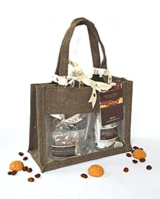Robins and Sons Luxury 'LITTLE ITALY' COFFEE Gift Bag, glass mug, Italian amaretti, sugar swizzle sticks, coffee beans, chocolate from Robins and Sons