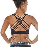 icyzone Sport-BH Damen Yoga BH mit Polstern - Kreuz Rücken