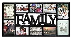 Close Up® 3D Fotorahmen Family für 10 Fotos- Qualität Collage Bilderrahmen XL - ca. 73x37 cm - schwarz