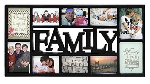 Close Up® 3D Fotorahmen Family für 10 Fotos- Qualität Collage Bilderrahmen XL - ca. 73x37 cm - schwarz -