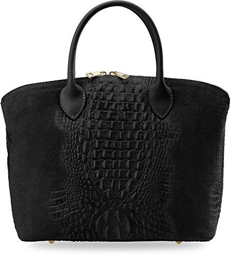 Damen - Handtasche Bowlingbag Naturleder Aktentasche VERA PELLE Kroko-Muster (schwarz) schwarz