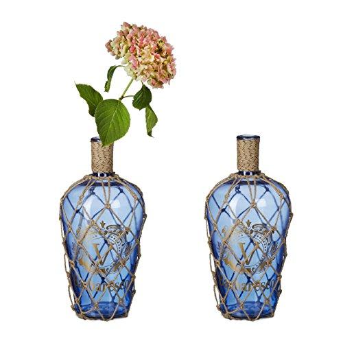 2x Bodenvase Aufdruck, Dekoflasche Glas, Blumenvase Jute-Kordel, Standvase Vintage, HBT: ca. 50 x 23 x 23 cm, 15 L, blau
