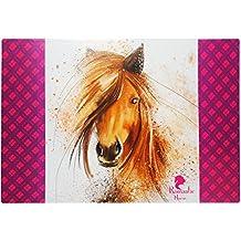 """XL - Schreibtischunterlage / Unterlage - """" braunes Pferd - Romantic Horse """" - 60 cm * 40 cm - Tischunterlage / Knetunterlage / Bastelunterlage - beschichtet & abwaschbar - abwischbar - für Mädchen & Jungen - Kinder & Erwachsene - Schreibunterlage / Pferde / Hengst Tiere - Haustier / Fohlen - Malunterlage - Kinderschreibtisch"""