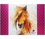 XL-Schreibtischunterlage-Unterlage-braunes-Pferd-Romantic-Horse-60-cm-40-cm-Tischunterlage-Knetunterlage-Bastelunterlage-beschichtet-abwaschbar-abwischbar-fr-Mdchen-Jungen-Kinder-Erwachsene-Schreibunt