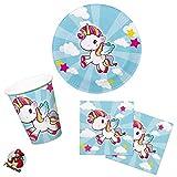 cama24com Einhorn Motto-Party-Set A 36-teilig für 8 Personen Kindergeburtstag Tischdeko mit Palandi® Sticker