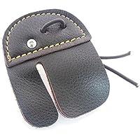 XHY Tiro con Arco Dedo Tab Protector de Dedos de Piel de Vaca, Color marrón