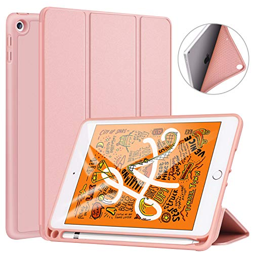 Ztotop Custodia per Nuovo iPad Mini 5th Generation 2019, Ultra Smart Case Cover con Pencil Holder, Supporta la Funzione Auto accensione/spegnimento, Cover per 7.9 Pollici iPad Mini 5 2019 - Oro Rosa