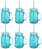 6 Stück Trinkbecher mit Deckel und Strohhalm aus Glas - Trinkglas in Vintage - Retro - Cocktailglas Füllmenge : 450ml / Blau